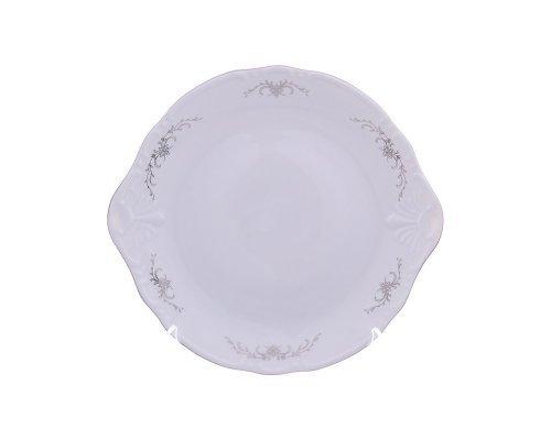 Тарелка для торта 27 см Тхун (Thun) Констанция Серый орнамент Отводка платина