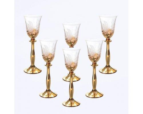 Набор рюмок для водки 60 мл Богемия Кристал (Bohemia Crystal) Золото