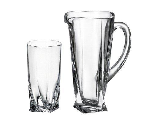 Набор для воды 7 предметов Quadro прозрачная Bohemia Crystal