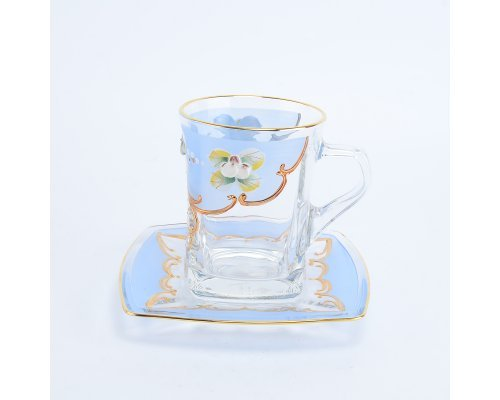 Набор чайных пар 270 мл U-R фон Богемия Кристал (Bohemia Crystal) синий (6 пар)
