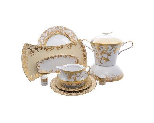 Столовый сервиз на 6 персон 27 предметов Falkenporzellan Tosca Creme Gold