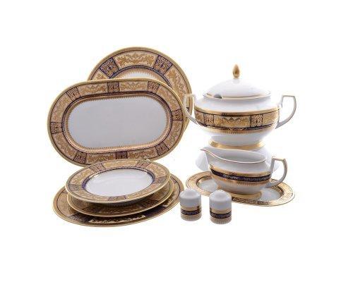 Столовый сервиз на 6 персон 27 предметов Falkenporzellan Diadem Blue Creme Gold