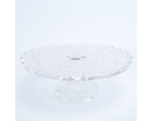 Тарелка для торта 30 см на ножке Sonne Crystal