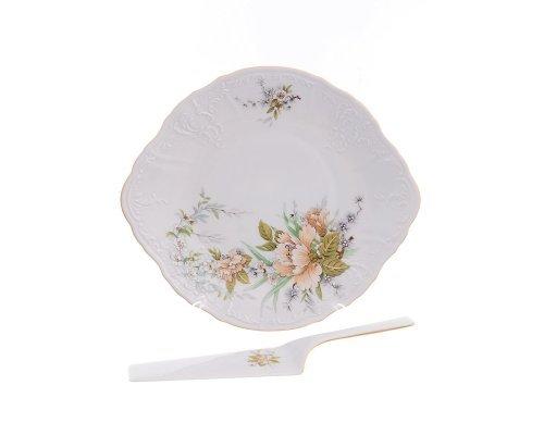 Тарелка для торта 27 см с лопаткой Бернадотт Зеленый цветок