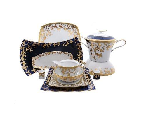 Столовый сервиз на 6 персон 27 предметов Falkenporzellan Tosca Blueshade Gold