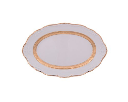 Блюдо овальное 32 см Тхун (Thun) Мария Луиза Золотая лента