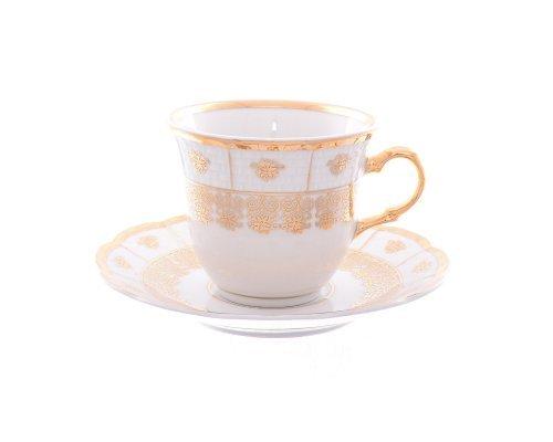 Набор чайных пар 200 мл Менуэт Золотой орнамент Thun (6 пар)