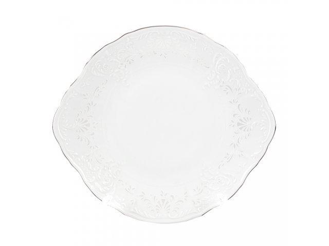 Тарелка для торта 27 см Бернадотт Платиновый узор
