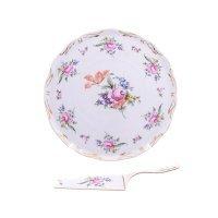 Тарелка для торта 28 см с лопаткой Полевой цветок Корона Queens Crown