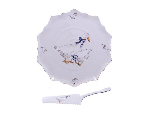 Тарелка для торта 30 см с лопаткой Гуси Корона Queens Crown
