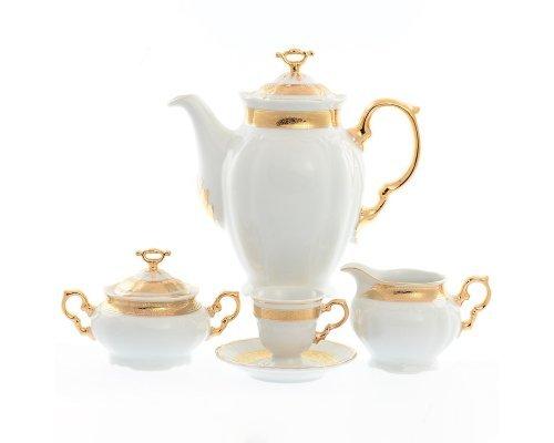 Кофейный сервиз на 6 персон 17 предметов Тхун (Thun) Мария Луиза Золотая лента