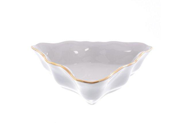 Салатник треугольный 22 см Белый узор Корона Queens Crown