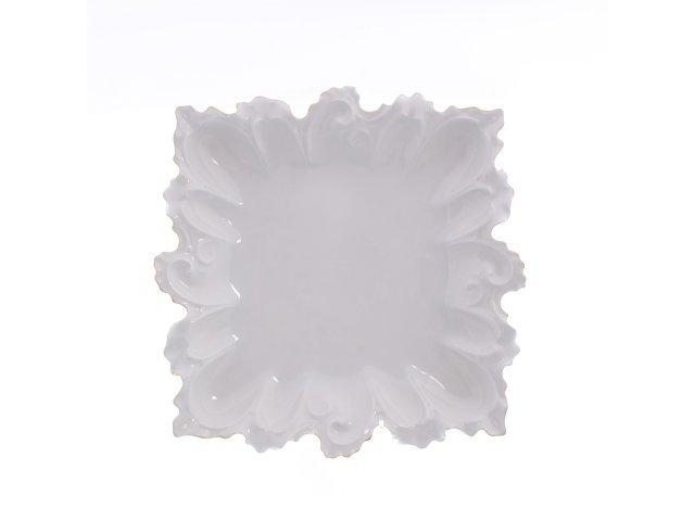 Блюдо фигурное квадратное 36 см Белый узор Корона Queens Crown