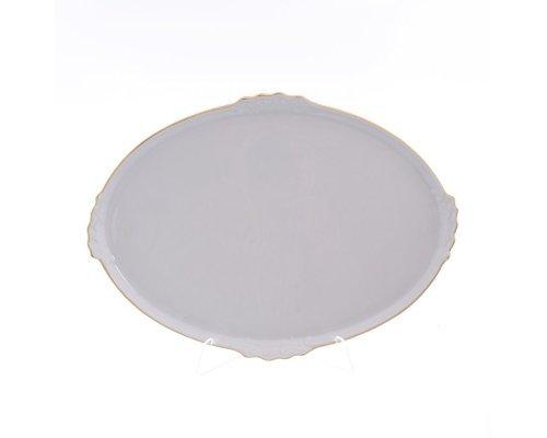 Блюдо овальное 37 см Белый узор Корона Queens Crown