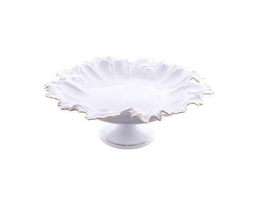 Блюдо круглое 35 см на ножке Белый узор Корона Queens Crown