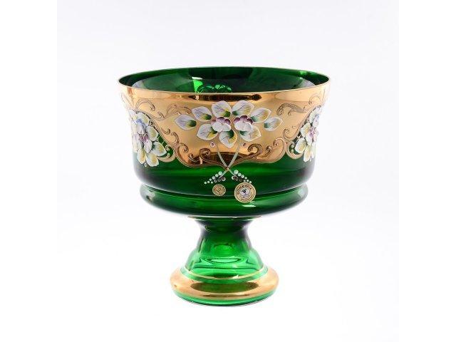Конфетница 20 см Bohemia (Богемия) Лепка Зеленая E-V