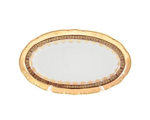 Блюдо овальное 21 см Тхун (Thun) Констанция Рубин Золотой орнамент