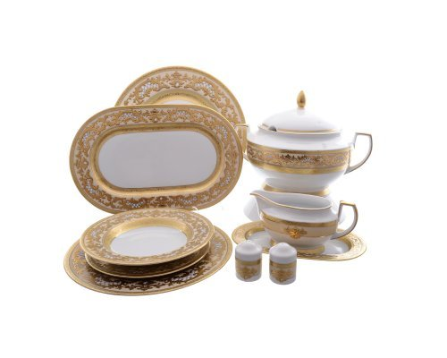 Столовый сервиз на 6 персон 27 предметов Falkenporzellan Alena 3D Crem Gold Constanza
