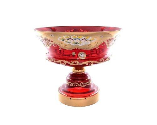 Конфетница 30 см Bohemia (Богемия) Лепка Красная E-V