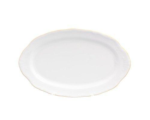 Блюдо овальное 25 см Белый узор Корона Queens Crown