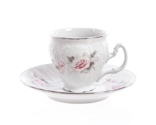 Набор кофейных пар бочка Bernadotte Серая роза платина 90 мл (6 пар)