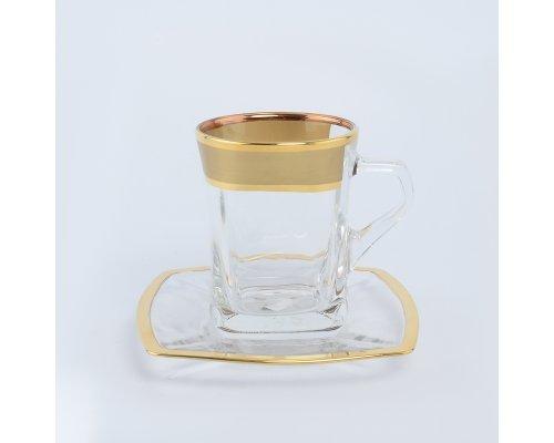 Набор чайных пар 220 мл Матовый B-G фон Богемия Кристал (Bohemia Crystal) (6 пар)