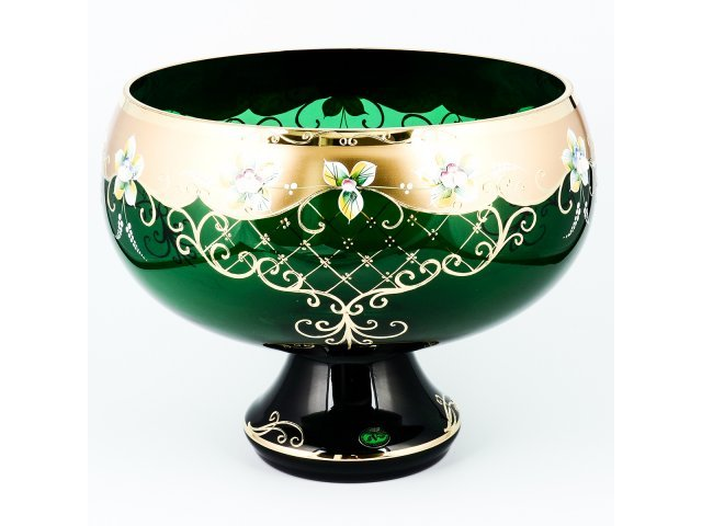 Фруктовница Богемия Кристал (Bohemia Crystal) 33 см И-В зеленая