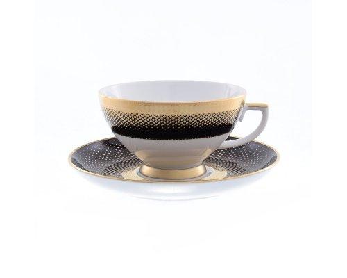 Набор чайных пар 250 мл Falkenporzellan Rio black gold (6 пар)