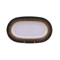 Блюдо овальное 24 см Falkenporzellan Rio black gold