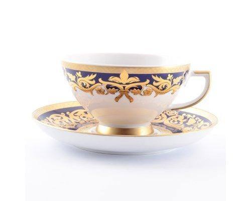 Набор чайных пар 250 мл Falkenporzellan Natalia cobalt gold (6 пар)
