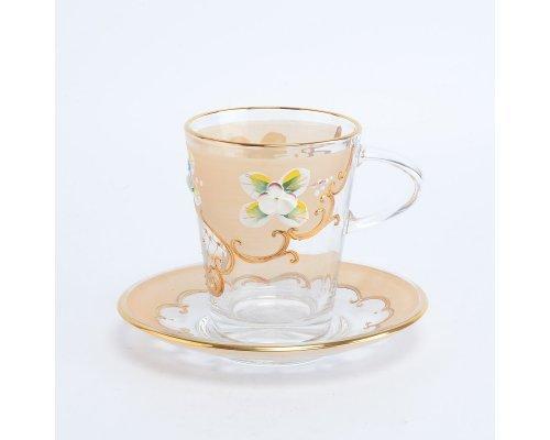 Набор чайных пар золотая U-R фон Богемия Кристал (Bohemia Crystal) (6 пар)