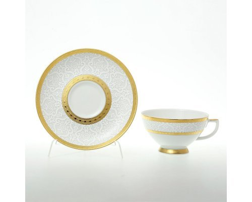 Набор чайных пар 220 мл Falkenporzellan Constanza Diamond White Gold (6 пар)
