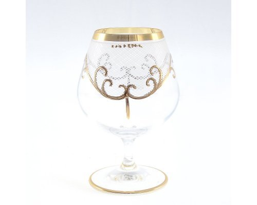 Набор бакалов для бренди 400 мл 6 шт Karo золото Богемия Кристал (Bohemia Crystal)