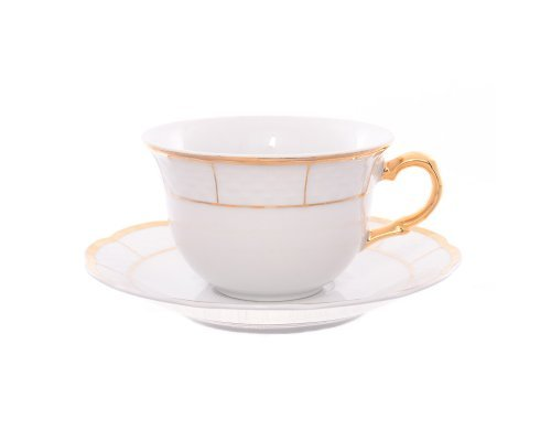 Набор чайных пар 240 мл Тхун (Thun) Менуэт Отводка золото (6 пар)