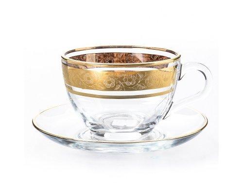 Набор чайных пар 220 мл Золото V-D Богемия Кристал (Bohemia Crystal) (6 пар)