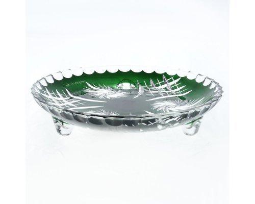 Тарелка на ножках зеленая 18 см Цветной хрусталь Bohemia (Богемия)