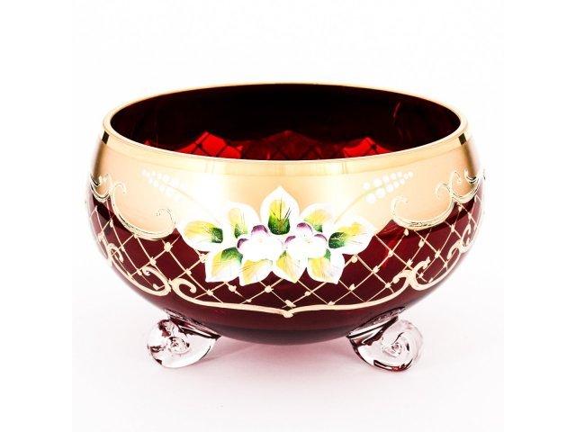 Ваза для конфет тройножа 16 см Богемия Кристал (Bohemia Crystal) Лепка Красная B-L