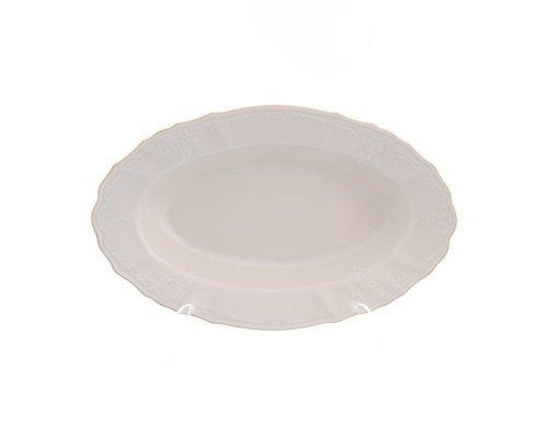 Блюдо овальное 24 см Бернадотт Белый узор BE-IVORY