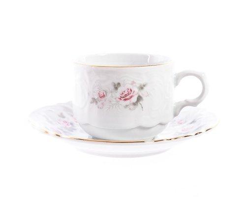 Набор чайный пар хотел 250 мл Бернадотт Серая роза золото (6 пар)