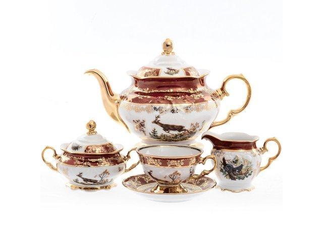 Чайный сервиз на 6 персон 17 предметов Фредерика Охота Красная Roman Lidicky