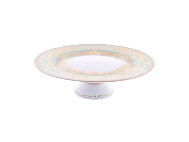 Тарелка для торта на ножке 32 см Falkenporzellan Natalia green gold