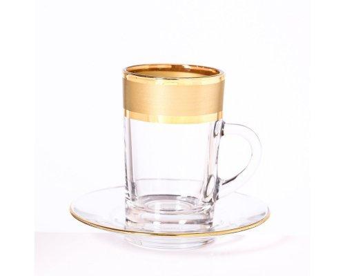 Набор кофейных пар Матовая полоса золото