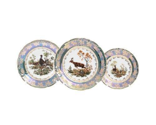 Набор тарелок 18 предметов Фредерика Охота Зеленая Roman Lidicky
