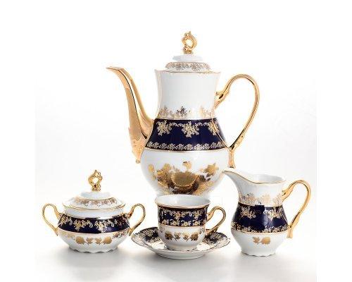 Кофейный сервиз на 6 персон 17 предметов Тхун (Thun) Констанция Золотая роза Кобальт 7635400