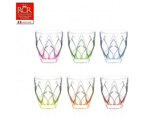 Набор стаканов для виски 250 мл цыетные 6 шт Ninphea RCR Cristalleria Italiana