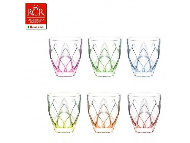 Набор стаканов для виски 250 мл цветные 6 шт Ninphea RCR Cristalleria Italiana