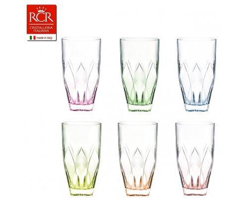 Набор стаканов для воды 330 мл цветные 6 шт Ninphea RCR Cristalleria Italiana