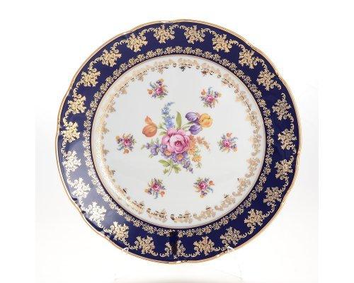 Блюдо круглое 30 см Констанция Кобольт Полевой цветок Thun (Тхун)