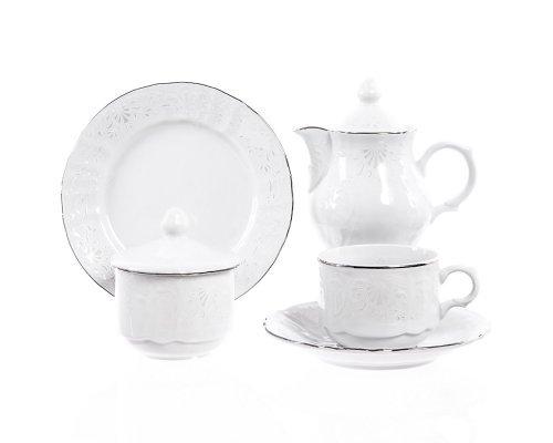 Чайный сервиз на 6 персон 22 предмета Бернадотт Платиновый узор (новый)