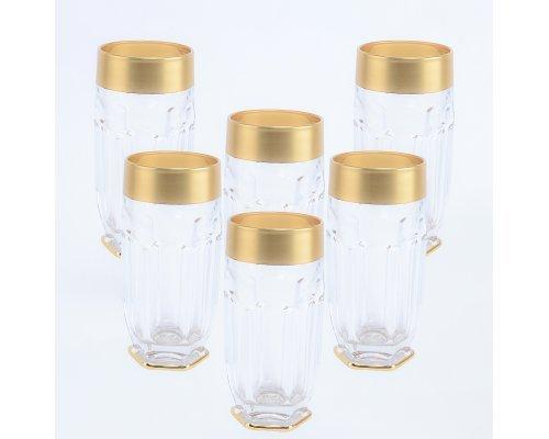 Набор стаканов высоких Сафари Матовая полоса (6 шт) BOHEMIA GOLD